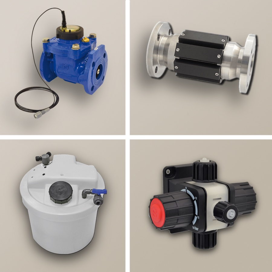Tanks, safety bunds, mixers, static mixers, water meter with pulse emitter, injection valves, suction lances, level probes, flow meters, magnetic descaler, probe holders